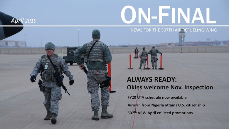 Senior Airman Steven Hill, 507th Security Forces Squadron, and a team of 507th SFS defenders set up a perimeter to secure aircraft on the flightline during an aircraft generation exercise geared toward wartime preparation and readiness March 2, 2019, at Tinker Air Force Base, Oklahoma. The 507th Air Refueling Wing's unit effectiveness inspection capstone event is scheduled for Nov. 15-19, 2019. (U.S. Air Force photo by Tech. Sgt. Lauren Gleason) (This photo has been altered for security purposes by blurring out identification badges.)