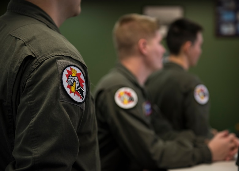 Airmen of the 93rd Air Refueling Squadron gathered to recognize the squadron's history during the squadron's 70th anniversary at Fairchild Air Force Base, Washington, March 29, 2019. The 93rd Air Refueling Squadron has stood the test of time through two relocations and a change of mission set and has continued their legacy as the first air refueling squadron to pave the way for Team Fairchild as the premier air refueling base. (U.S. Air Force photo by Airman 1st Class Whitney Laine)