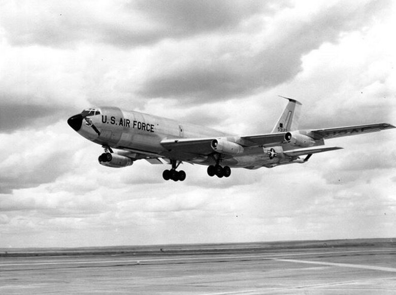 A brand new KC-135 Stratotanker, Tail number 55-3127, takes off from Larson Air Force Base, Washington, June 28, 1957, on its way to Castle AFB, Washington. This was the first KC-135 delivered to the legacy Strategic Air Command. It underwent company tests and Air Force acceptance flights at Larson AFB prior to its assignment with the 93rd Air Refueling Squadron. (U.S. Air Force Courtesy Photo)