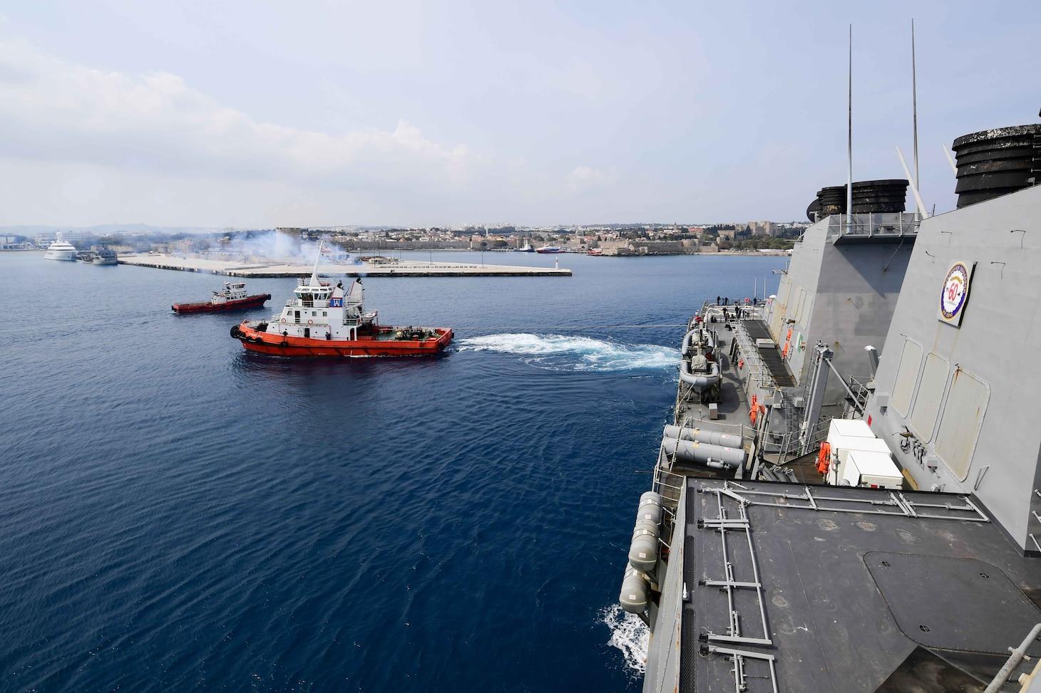USS Ross (DDG 71)departs Rhodes, Greece.