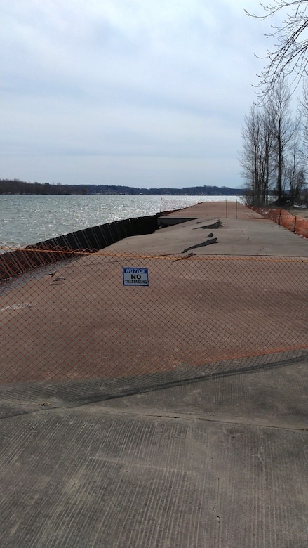 The Corps of Engineers, working closely with the village, has installed a temporary barrier to prevent access to the west pier in the interest of public safety.  Until the pier is fully repaired, it is recommend that the public stay away from the damaged sections of the pier.