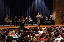 Maj. Gen. James Hoyer, the Adjutant General of the West Virginia National Guard, speaks to the student body of Westside High School in Wyoming County, W.Va. April 3, 2019. Hoyer announced a new initiative from the West Virginia National Guard to implement a Future Leaders Program in the school, which are being planned to be introduced in Wyoming, Putnam, Logan and Mineral Counties in the fall. (U.S. Army National Guard photo by Bo Wriston)