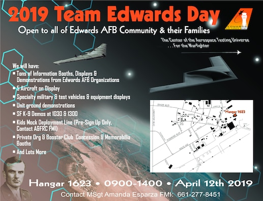 Team Edwards Day and Kids' Mock Deployment Line is scheduled for April 12 at Hangar 1623 from 9 a.m. to 2 p.m. The event is open to Team Edwards members and their family. Aircraft, equipment and other military equipment will be on display, as well as Security Forces K-9 demonstrations. (Graphic courtesy of U.S. Air Force)