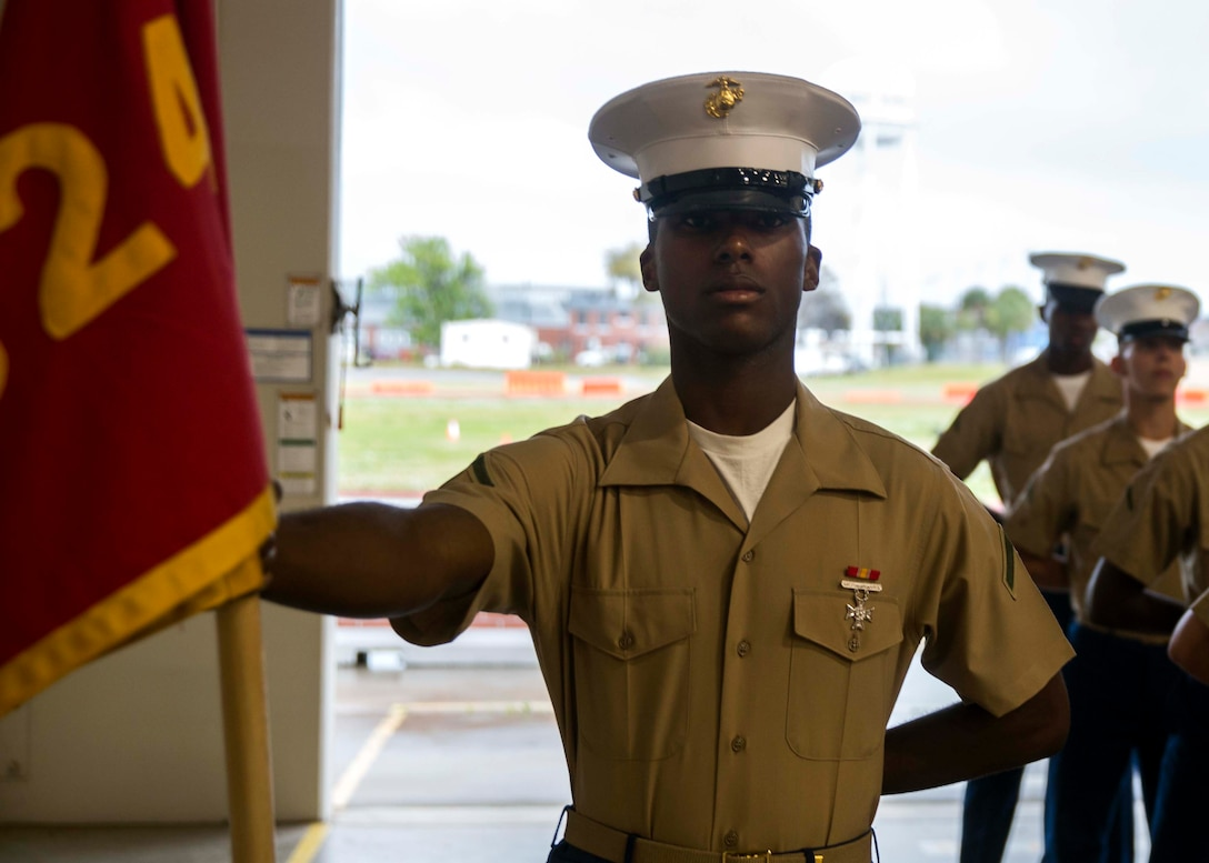 Private First Class Nasier I. Taylor completed Marine Corps recruit training as the platoon honor graduate of Platoon 1024, Company B, 1st Recruit Training Battalion, Recruit Training Regiment, aboard Marine Corps Recruit Depot Parris Island, South Carolina, April 05, 2019. Taylor was recruited by Gunnery Sergeant Ray C. Littles from Recruiting Substation North Charleston. (U.S. Marine Corps photo by Cpl. Jack A. E. Rigsby)