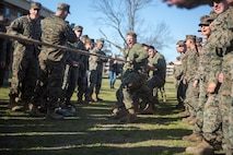U.S. Marines with 2nd Battalion, 2nd Marine Regiment, 2nd Marine Division, participate in the tug-of-war portion of Warlords Day on Camp Lejeune, North Carolina, March 28, 2019. Marines from each company compete against each other for a day to test their strengths within the occupational field and build camaraderie while maintaining mission readiness. (U.S. Marine Corps photo by Cpl. Angel Travis)