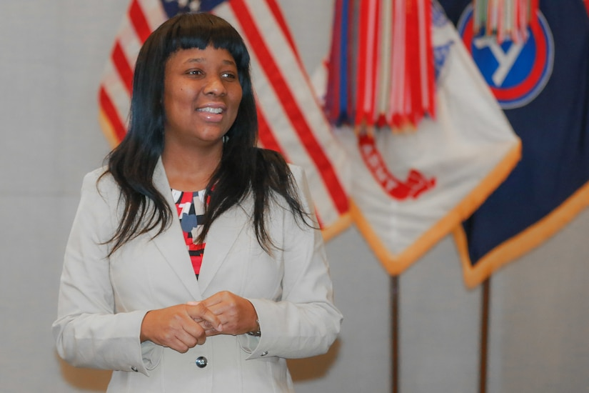 Ivy Merrick, U.S. Army Central Equal Employment Opportunity (EEO) Program Manager, briefs the class during the Equal Employment Opportunity Counselor Course at USARCENT headquarters on Shaw Air Force Base, S.C., March 27, 2019.