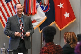 Barry R. DuBois, the program manager for the Equal Employment Opportunity Program at Fort Drum, N.Y., briefs the class during the Equal Employment Opportunity Counselor Course at U.S. Army Central headquarters on Shaw Air Force Base, S.C., March 27, 2019.