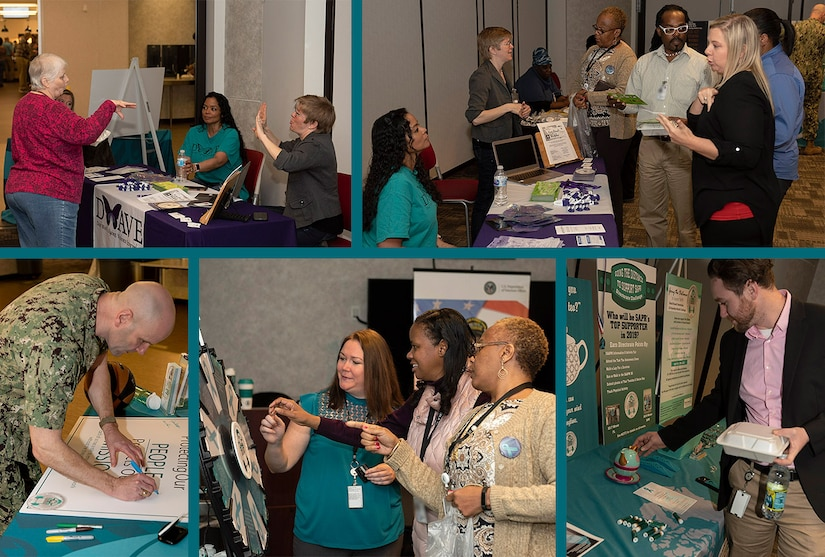 Collage of pictures from the information fair to include a person signing a poster, participants spinning a promotional wheel and associates talking to booth represenatives