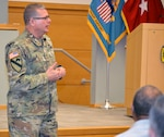 Army Brig. Gen. Mark Simerly, DLA Troop Support commander, speaks to new Pathways to Career Excellence employees during a town hall at DLA Troop Support March 4, 2019 in Philadelphia.