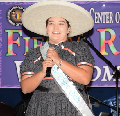 2019 Fiesta's Charro Queen addresses Soldiers in formation prior to the Health Readiness Center of Excellence 2019 Viva Fiesta Fun Run at Joint Base San Antonio-Fort Sam Houston April 5.