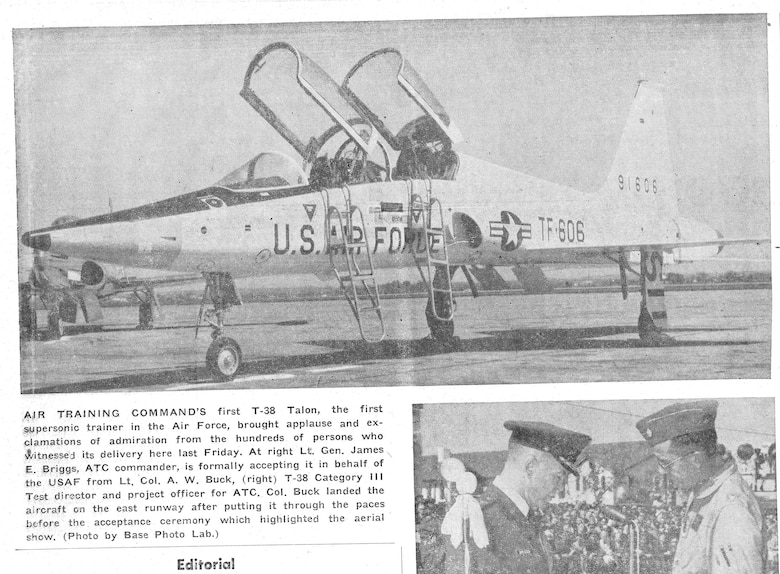 A scanned image from the Wingspread published in 1961 with a photo of the first T-38 to arrive at Randolph Air Force Base, Texas.