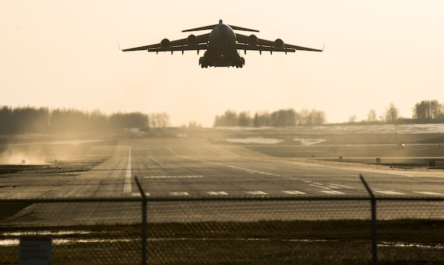 A C-17 Globemaster lll takes off during Polar Force 19-4 at Joint Base Elmendorf-Richardson, Alaska, April 1, 2019. Polar Force is a two-week exercise designed to test JBER's mission readiness, and develops the skills service members require to face adverse situations.