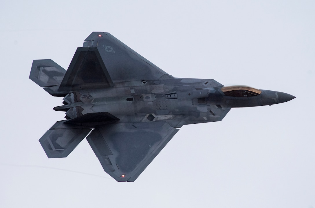 An F- 22 Raptor takes flight as part of Polar Force 19-4 at Joint Base Elmendorf-Richardson, Alaska, April 2, 2019. The exercise is designed to validate JBER's ability to integrate, mobilize and prepare assigned personnel, aircraft and equipment for a wartime mission. (U.S. Air Force photo by Airman 1st Class Jonathan Valdes Montijo)