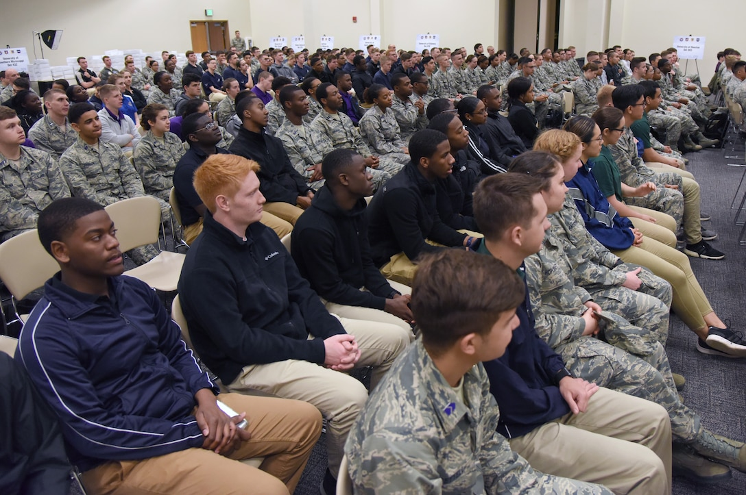 Air Force ROTC cadets attend a senior enlisted panel during the fifth annual Pathways to Blue on Keesler Air Force Base, Mississippi, April 5, 2019. Pathways to Blue is a diversity outreach event hosted by Second Air Force with the support of the 81st Training Wing and the 403rd Wing. More than 250 cadets from 12 different colleges and universities were provided hands-on demonstrations of various career fields. (U.S. Air Force photo by Kemberly Groue)