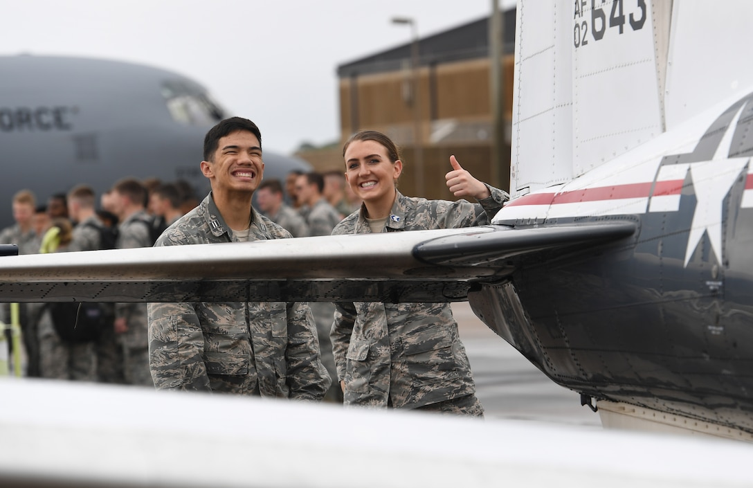 Kyle Enriquez and Kathryn Warner, University of West Florida Air Force ROTC cadets, pose for a photo while viewing static displays during the fifth annual Pathways to Blue on Keesler Air Force Base, Mississippi, April 5, 2019. Pathways to Blue is a diversity outreach event hosted by Second Air Force with the support of the 81st Training Wing and the 403rd Wing. More than 250 cadets from 12 different colleges and universities were provided hands-on demonstrations of various career fields. (U.S. Air Force photo by Kemberly Groue)