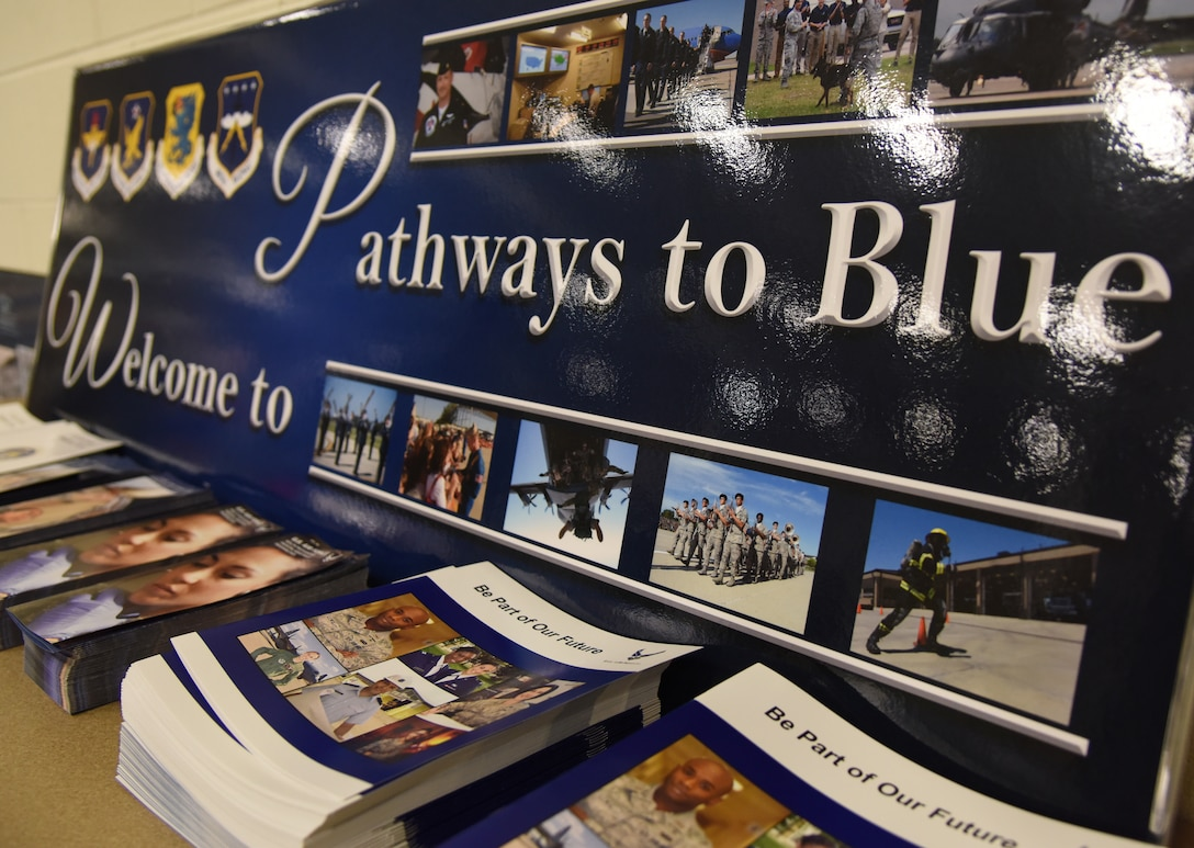 A poster is on display during the fifth annual Pathways to Blue on Keesler Air Force Base, Mississippi, April 5, 2019. Pathways to Blue is a diversity outreach event hosted by Second Air Force with the support of the 81st Training Wing and the 403rd Wing. More than 250 cadets from 12 different colleges and universities were provided hands-on demonstrations of various career fields. (U.S. Air Force photo by Kemberly Groue)