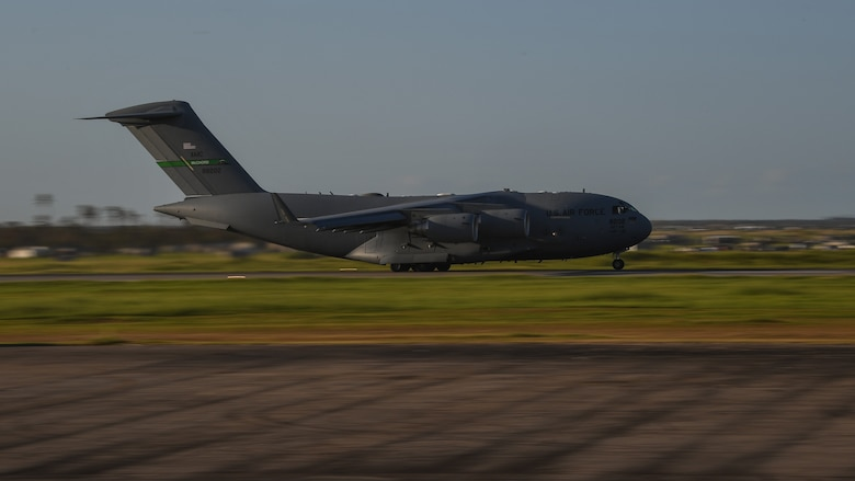 A C-17 Globemaster III departs Beira Airport, Mozambique, April 2, 2019, after delivering relief supplies, equipment and personnel supporting Combined Joint Task Force-Horn of Africa (CJTF-HOA) for the U.S. Department of Defense's (DoD) relief effort in the Republic of Mozambique and surrounding areas following Cyclone Idai. Teams from CJTF-HOA, which is leading DoD support to relief efforts in Mozambique, began immediate preparation to respond following a call for assistance from the U.S. Agency for International Development's Disaster Assistance Response Team. (U.S. Air Force photo by Staff Sgt. Corban Lundborg)