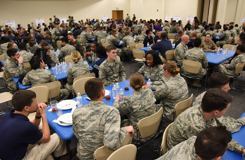 Air Force ROTC cadets participate in a speed mentoring session during the fifth annual Pathways to Blue on Keesler Air Force Base, Mississippi, April 5, 2019. Pathways to Blue is a diversity outreach event hosted by Second Air Force with the support of the 81st Training Wing and the 403rd Wing. More than 250 cadets from 12 different colleges and universities were provided hands-on demonstrations of various career fields. (U.S. Air Force photo by Kemberly Groue)