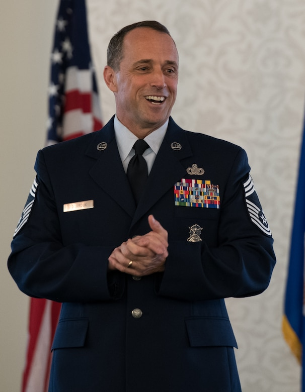 U.S. Air Force Reserve Chief Master Sgt. Karl Fourroux, security forces manager, 932nd Airlift Wing, addresses the audience at his retirement ceremony on April 6, 2019, Scott Air Force Base, Illinois. Fourroux retired after honorably serving for 34 years.  (U.S. Air Force photo by Senior Airman Brooke Deiters)