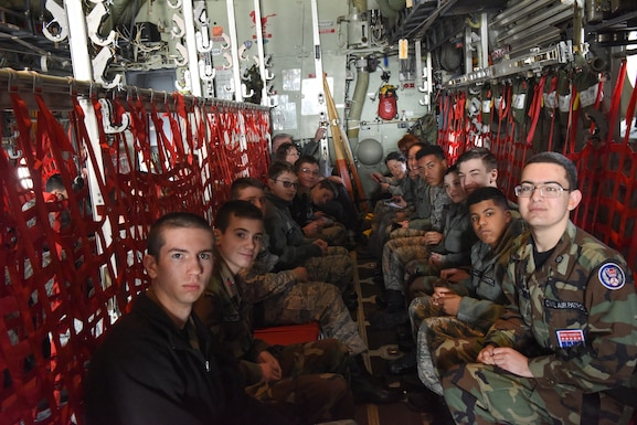 Civil Air Patrol cadets from local squadrons, along with their leadership, participate in a familiarization orientation flight on an EC-130J Super J aircraft April 6, 2019, at the 193rd Special Operations Wing, Middletown, Pennsylvania. Orientation flights are conducted for groups that typically have an aviation-related mission in order to familiarize them with Air Force aircraft and missions. (U.S. Air National Guard photo by Staff Sgt. Julia Sorber/Released)