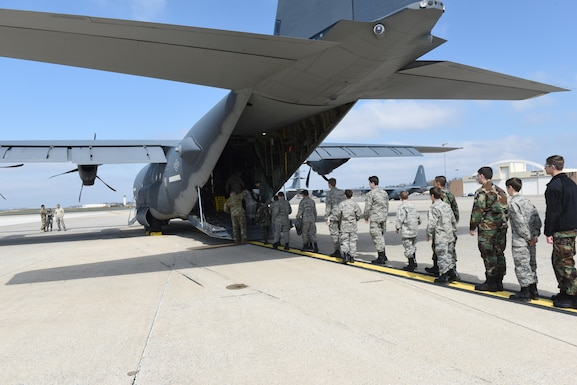 Civil Air Patrol cadets from local squadrons, along with their leadership, participate in a familiarization orientation flight on an EC-130J Super J aircraft April 6, 2019 at the 193rd Special Operations Wing, Middletown, Pennsylvania. The 41 members that participated in the orientation flight came from three CAP squadrons, to include Harrisburg International Composite Squadron 306, Lebanon Composite Squadron 307 and Reading Composite Squadron 811. (U.S. Air National Guard photo by Staff Sgt. Julia Sorber/Released)