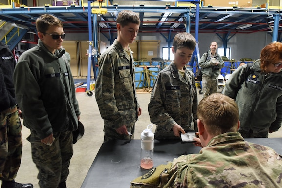 Civil Air Patrol cadets from local squadrons, along with their leadership, check in for a familiarization orientation flight on an EC-130J Super J aircraft April 6, 2019 at the 193rd Special Operations Wing, Middletown, Pennsylvania. The 41 members that participated in the orientation flight came from three CAP squadrons, to include Harrisburg International Composite Squadron 306, Lebanon Composite Squadron 307 and Reading Composite Squadron 811. (U.S. Air National Guard photo by Staff Sgt. Julia Sorber/Released)