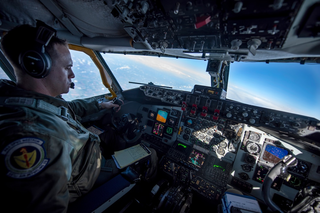 U.S. Air Force Maj. Michael Harrison, 100th Air Refueling Wing Inspector General director of inspections, flies a KC-135 Stratotanker over Scotland to refuel aircraft participating in exercise Joint Warrior 19-1, April 4, 2019.  Exercise Joint Warrior is a biannual, U.K.-led multinational exercise and one of largest NATO exercises in Europe, involving 13 countries.  (U.S. Air Force photo by Tech. Sgt. Emerson Nuñez)