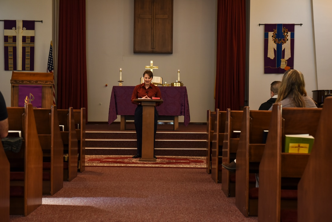haplain (Capt.) Tara Bauer, 39th Air Base Wing chaplain, gives a sermon to members of her congregation March 17, 2019, at Incirlik Air Base, Turkey.