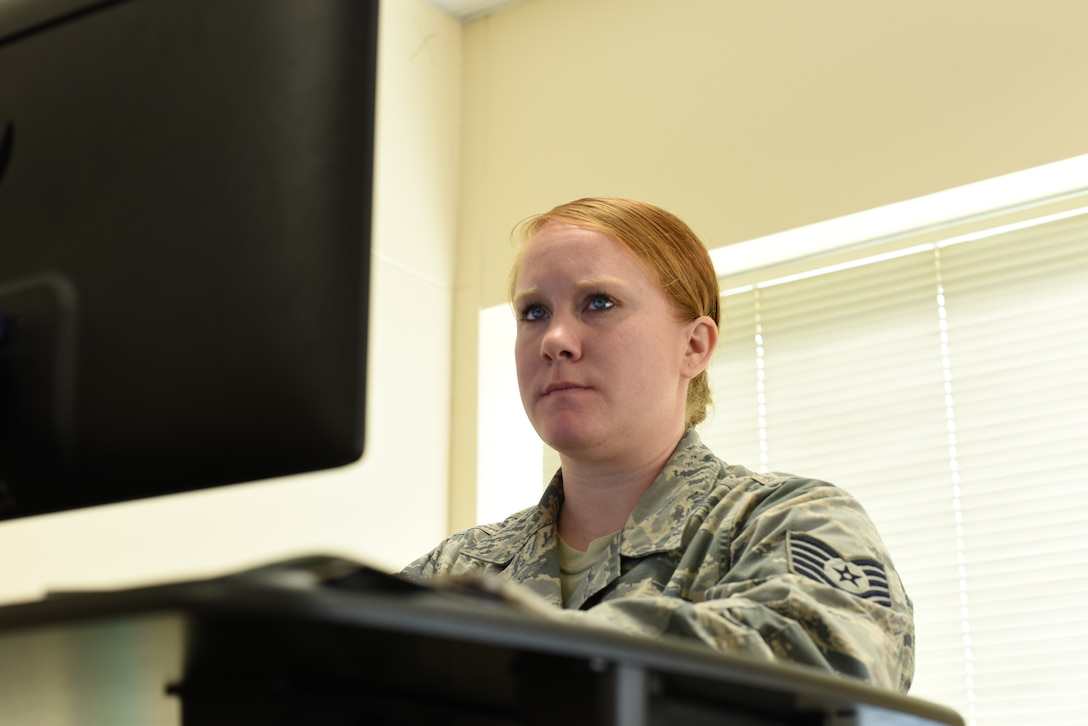 Tech Sgt. Cara Montgomery, 39th Air Base Wing plans and programs NCO in charge, schedules and coordinates an event at her work station March 18, 2019, at Incirlik Air Base, Turkey.