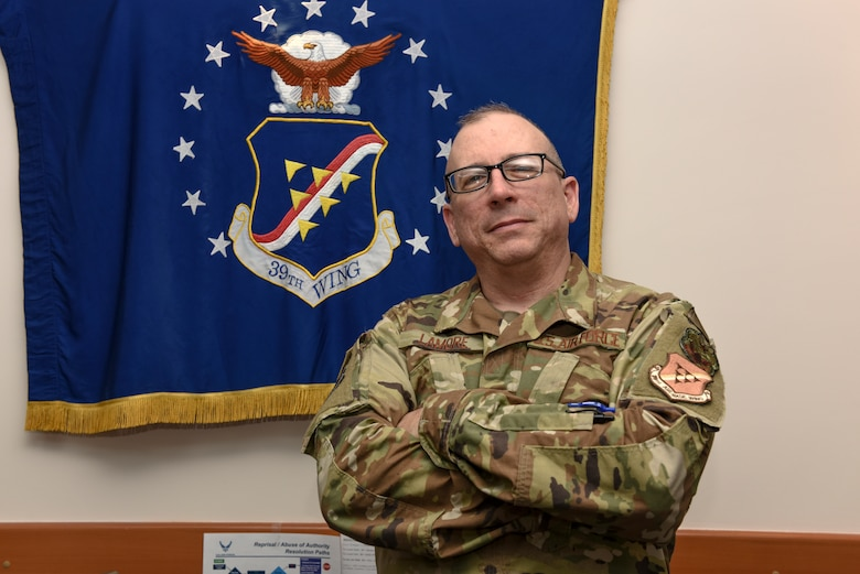 Lt. Col. Robert LaMore, 39th Air Base Wing Inspector General, poses for a photo in the Inspector General building April 2, 2019, at Incirlik Air Base, Turkey.