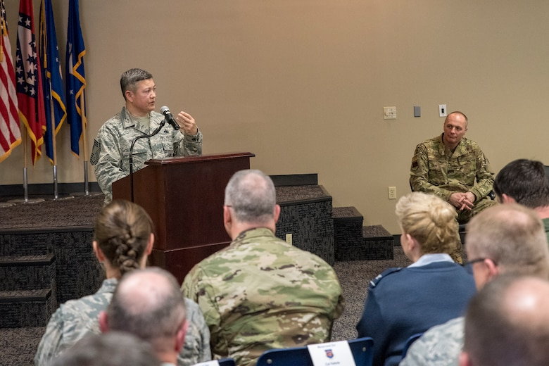 Chief Master Sgt. Brian Anible, 188th wing staff first sergeant, delivers remarks during a promotion ceremony held at Ebbing Air National Guard Base, Ark., April 7, 2019. Anible has served in the Air Force for 29 years, 26 of those with the Arkansas Air National Guard. (U.S. Air National Guard photo by Tech. Sgt. John E. Hillier)