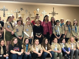 Master Sgt. Tammy Johnston, 150th AMXS meets with the Boy Scouts of America to launch the first ever presentations around the nation show casing female troops being formed