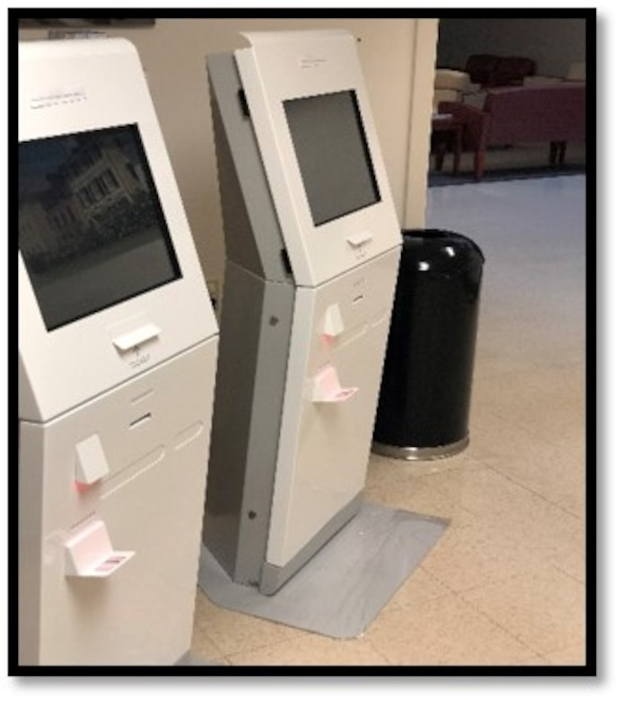 The Q-flow automated kiosks at the newly renovated 628th Medical Group Pharmacy will enable patients to check-in at the pharmacy without having to wait in line.