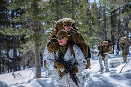 U.S Marines with Company G, 1st Battalion, 6th Marine Regiment, 2nd Marine Division, patrol during Mountain Training Exercise 2-19, at Marine Corps Mountain Warfare Training Center, Bridgeport, Calif., March 24, 2019.  The purpose of MTX is to prepare Marines for harsh weather conditions while enhancing  winter warfare skills in cold weather environments.