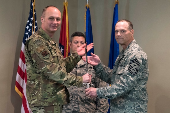 Chief Master Sgt. Donald E. Frederick, 188th Wing command chief master sergeant, assumes responsibility as wing command chief from Col. Robert I. Kinney, 188th Wing commander, during a change of responsibility ceremony at Ebbing Air National Guard Base, Fort Smith, Ark., April. 7, 2019. Frederick takes over responsibility as 188th Wing command chief from Chief Master Sgt. Stephen R. Bradley who served in that role for 6 years. (U.S. Air National Guard photo by Tech. Sgt. Daniel Condit)