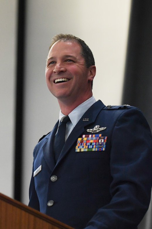 Three new commanders were inducted during the 307th Bomb Wing's unit training assembly at Barksdale Air Force Base, Louisiana, April 6-7, 2019.  U.S. Air Force Col. Steven W. Kirkpatrick became the new wing commander, Lt. Col. Christopher L. Chandler became commander of the 93rd Bomb Squadron and Lt. Col. Michael A. Green, Jr., took command of the 343rd Bomb Squadron. (U.S. Air Force photo by Airman 1st Class Max Daigle)