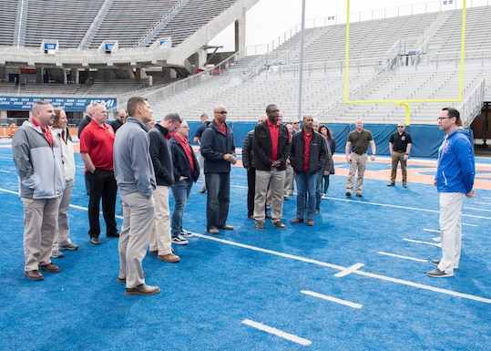 Chiefs from Mountain Home Air Force Base visit the Boise State University football field during the the professional developement seminar March 22, 2019, at BSU. The seminar was held to educate chiefs on cross-generation communication effectiveness. (U.S. Air Force photo by Senior Airman Tyrell Hall)