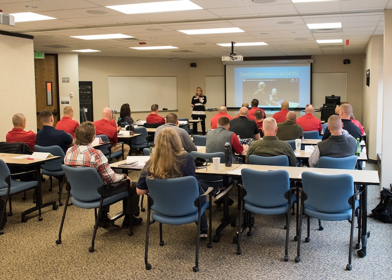 Chiefs from Mountain Home Air Force Base learn from Carol Barkes, Boise State University neuro peak specialist, during the professional development seminar March 22, 2019, at BSU. The seminar was held to educate chiefs on cross-generation communication effectiveness. (U.S. Air Force photo by Senior Airman Tyrell Hall)