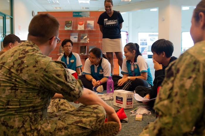 KUCHING, Malaysia (April 6, 2019) – Malaysian secondary school students attend Emergency Preparedness Camp with members of Pacific Partnership 2019. The camp teaches humanitarian assistance and disaster relief awareness by using English as a vehicle for understanding each other. Pacific Partnership, now in its 14th iteration, is the largest annual multinational humanitarian assistance and disaster relief preparedness mission conducted in the Indo-Pacific. Each year the mission team works collectively with host and partner nations to enhance regional interoperability and disaster response capabilities, increase security and stability in the region, and foster new and enduring friendships in the Indo-Pacific. (U.S. Navy photo by Mass Communication Specialist 2nd Class William Berksteiner)