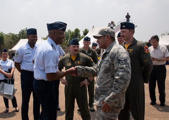 Staff Sgt. David Hinojosa, a 35th Communications Squadron cyber transport technician, recognized for his contributions during COPE Tiger 19 at Korat Royal Thai Air Force Base, Thailand, March 22, 2019.