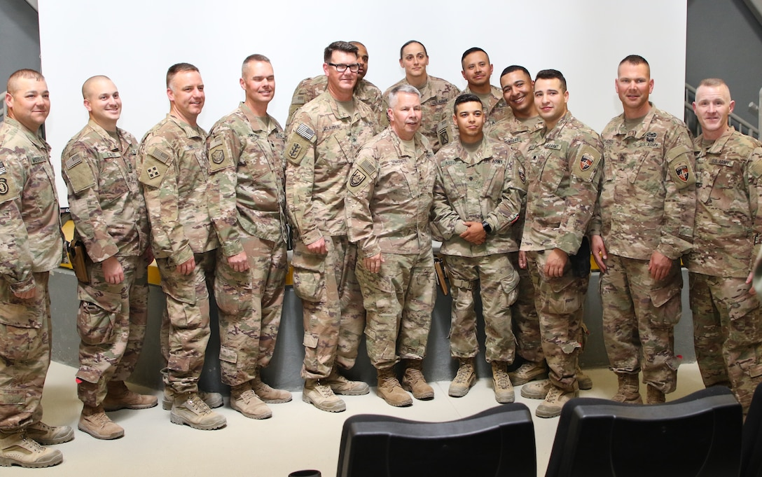 Regimental Engineers from within Bagram took advantage of the rare occasion and gathered for a group photo with the 54th Chief, U. S. Army Chief of Engineers and Command Sergeant Major Brad Houston following an engaging town hall in Afghanistan.