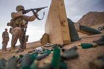 A U.S. Marine with 5th Platoon, Charlie Company, Fleet Anti-Terrorism Security Team, Central Command, fires the M500 shotgun during range operations and a subject matter expert exchange with service members from 77th Marine Battalion, Royal Jordanian Naval Force. FASTCENT provides expeditionary antiterrorism and security forces to embassies, consulates and other vital national assets throughout the region.