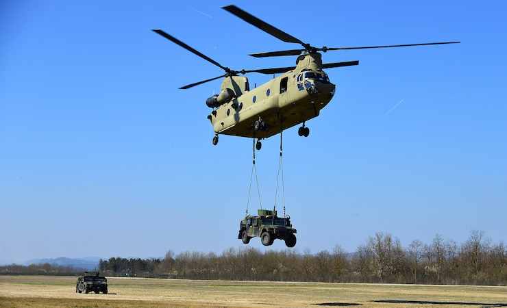 A 12th Combat Aviation Brigade CH-47 Chinook helicopter
