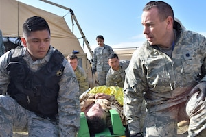 Airmen from the 86th Medical Group, Ramstein Air Base, Germany, participate in a multinational medical exercise.