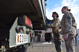 Chief Master Sgt. Amy Riley, 86th Medical Group, Ramstein Air Base, Germany, participates in a multinational medical exercise in Romania.