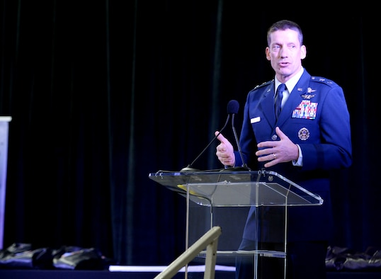 Maj. Gen. Robert Skinner, Air Forces Cyber commander, delivers the event speech during the CyberTexas Foundation's 9th Annual San Antonio Mayor's Cyber Cup awards luncheon in San Antonio, Texas, March 30, 2019. The event recognized the Air Force Association's CyberPatriot teams. (U.S. Air Force photo by Tech. Sgt. R.J. Biermann)