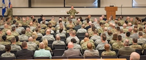 Air Force Chief of Staff Gen. David L. Goldfein briefs Mission Support Group Leadership Summit attendees at the Installation and Mission Support Weapons and Tactics Conference April 8 at Joint Base San Antonio-Lackland, Texas.
