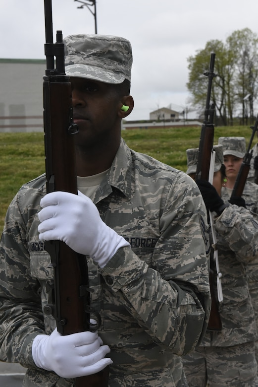 Airmen from the 145th Airlift Wing practice funeral live fire techniques as part of training to become official Air Force Honor Guards, while at the North Carolina Air National Guard Base, Charlotte Douglas International Airport, April 02, 2019. The Air Force Honor Guard is a group of military professionals that represent Airmen to the American public and the world, while maintaining a high standard, a flawless image, and preserving the heritage of our Nations military.