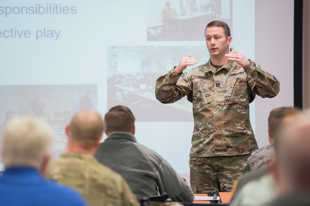 U.S. Army Capt. Joshua Dodson, an operations training officer for the 35th Civil Support Team, West Virgninia National Guard,  leads a discussion during a Homeland Secuirty Exercise and Evaluation Program course held at the 167th Airlift Wing, March 28, 2019. (U.S. Air National Guard  photo by Senior Master Sgt. Emily Beightol-Deyerle)