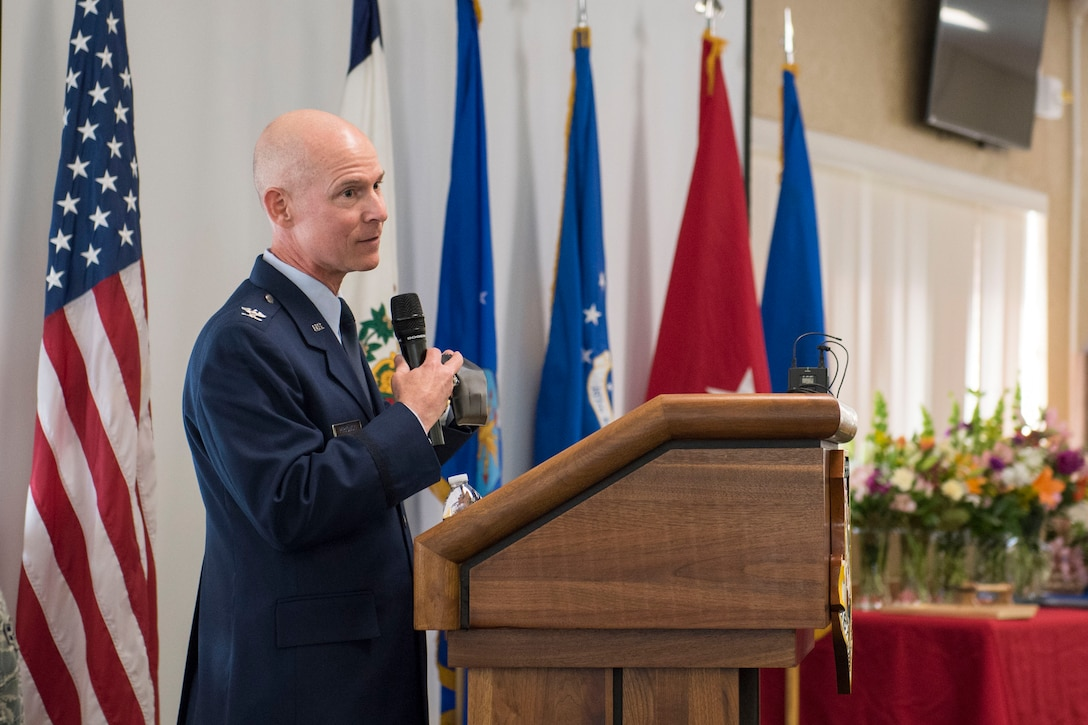 Col. Shaun Perkowski, the former wing commander for the 167th Airlift Wing, addresses the audience at his retirement ceremony at the 167th AW, April 6, 2019. Perkowski was the 167th AW commander from October 2013- October 2018. (U.S. Air National Guard photo by Tech. Sgt. Jodie Witmer)